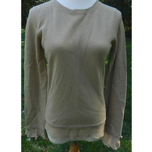 MOTH ANTHROPOLOGIE M Tan LS Sweater Ruffle Edges